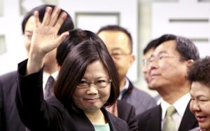 File photo shows Taiwan's main opposition Democratic Progressive Party (DPP) Chairperson Tsai Ing-wen waving to reporters after speaking during a news conference in Taipei